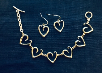 Heart Scroll Bracelet/Earring set